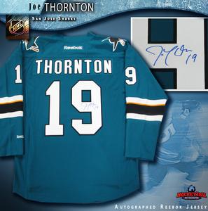 JOE THORNTON Signed San Jose Sharks New Style Teal Reebok Jersey