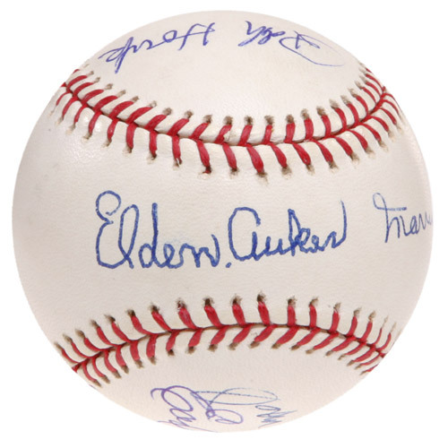 Photo of Ed Randall's Fans For the Cure Auction: Autographed Baseball Signed by Earl Weaver, Marvin Miller, Ralph Houk, Elden Auker, & John McHale