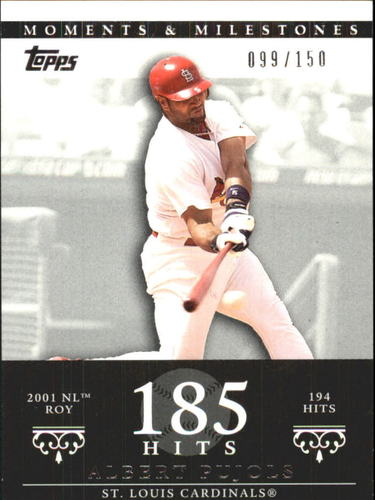 Photo of 2007 Topps Moments and Milestones #3-185 Albert Pujols/Hit 185