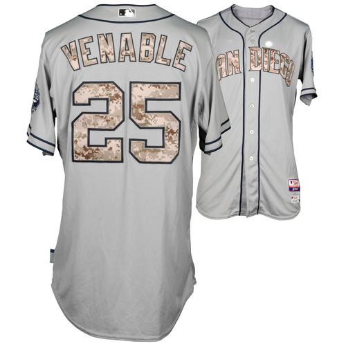 Photo of Will Venable Game-Used Memorial Day 2015 Camo Jersey
