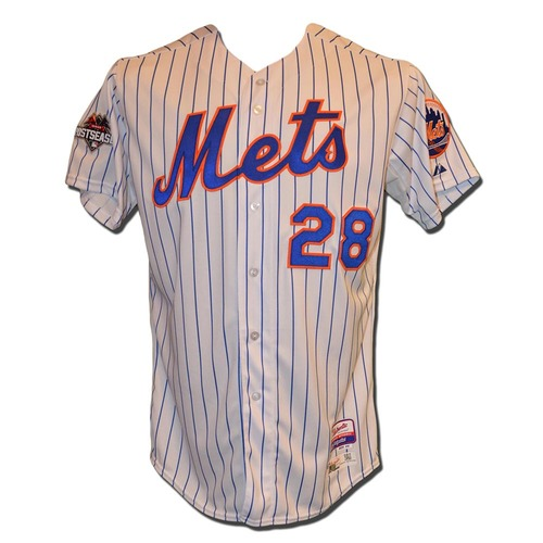 Photo of Daniel Murphy #28 - Team Issued White Pinstripe Jersey - 2015 Postseason