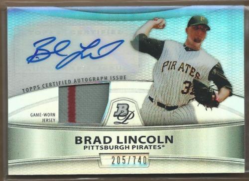 Photo of 2010 Bowman Platinum Relic Autographs Refractors #BL Brad Lincoln