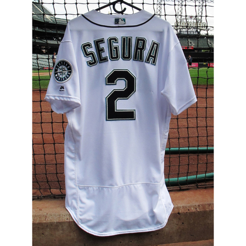 Photo of Jean Segura Game-Used Home 40th Anniversary White Jersey May 15, 2017 Size 46