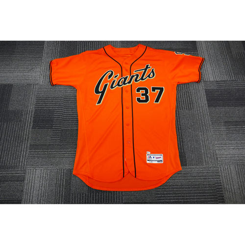 Photo of San Francisco Giants - 2017 Game-Used Orange Alt Jersey - worn by #37 Kelby Tomlinson on 9/29/17 - (Size: 46)