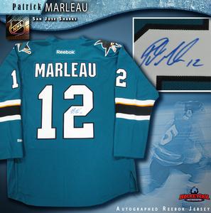 PATRICK MARLEAU Signed San Jose Sharks New Style Teal Reebok Jersey