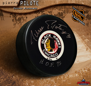 PIERRE PILOTE Signed Chicago Blackhawks Puck