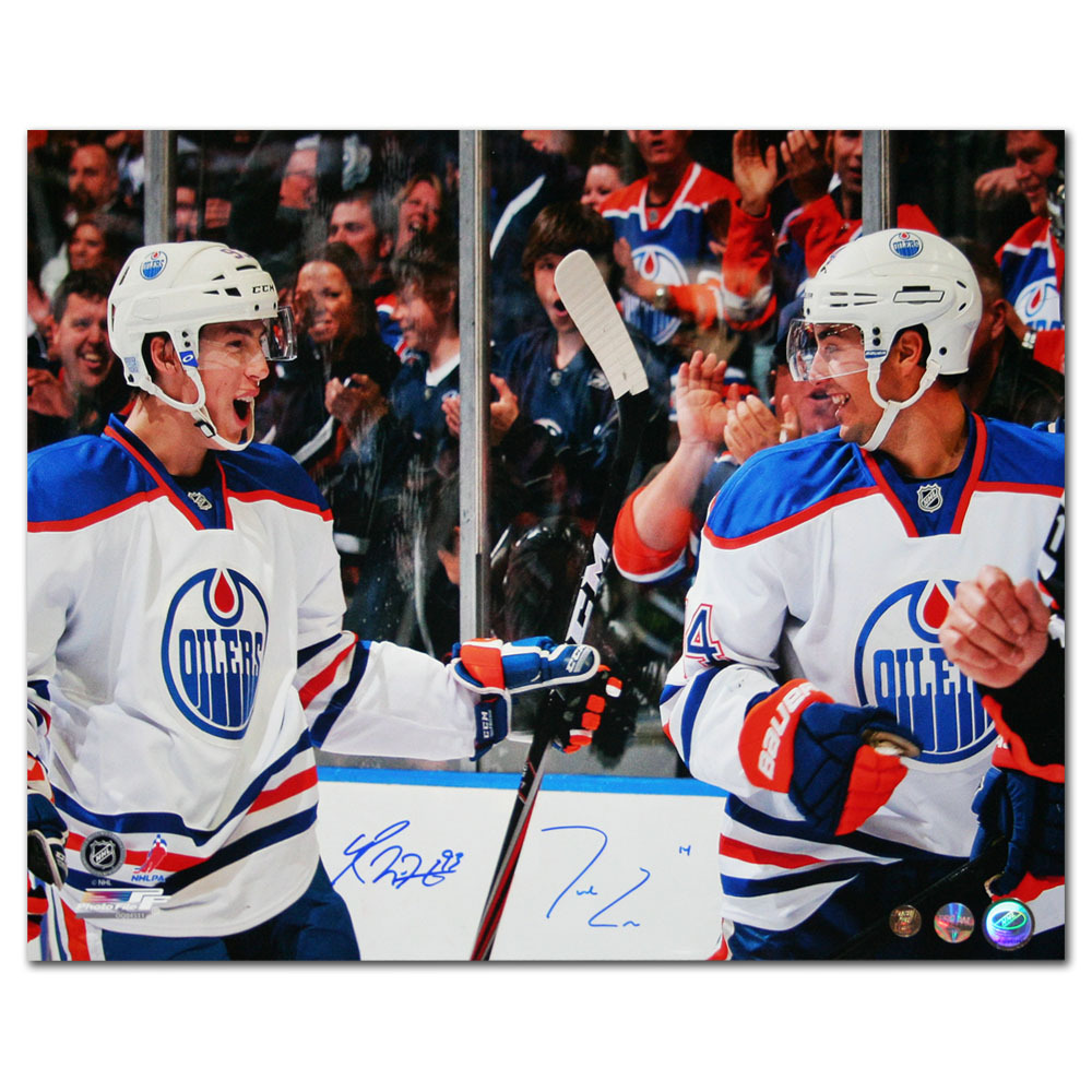 Jordan Eberle & Ryan Nugent-Hopkins Dual-Signed Edmonton Oilers 16X20 Photo