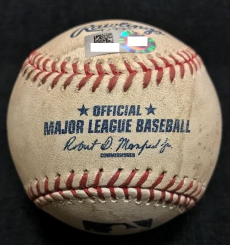Photo of Game-Used Baseball from Pirates vs. Cubs on 4/22/2015 - Worley to Rizzo, Fouled Back to Screen - Russell Records 1st Career Hit During Game