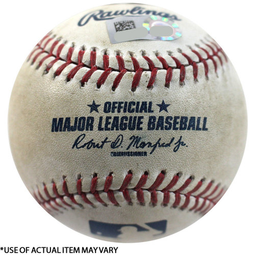 Photo of Rays at Yankees 4-10-2017 Game-Used Baseball: Bot 8, Batter: Jacoby Ellsbury, Pitcher: Alex Cobb - Ball in Dirt, Ball