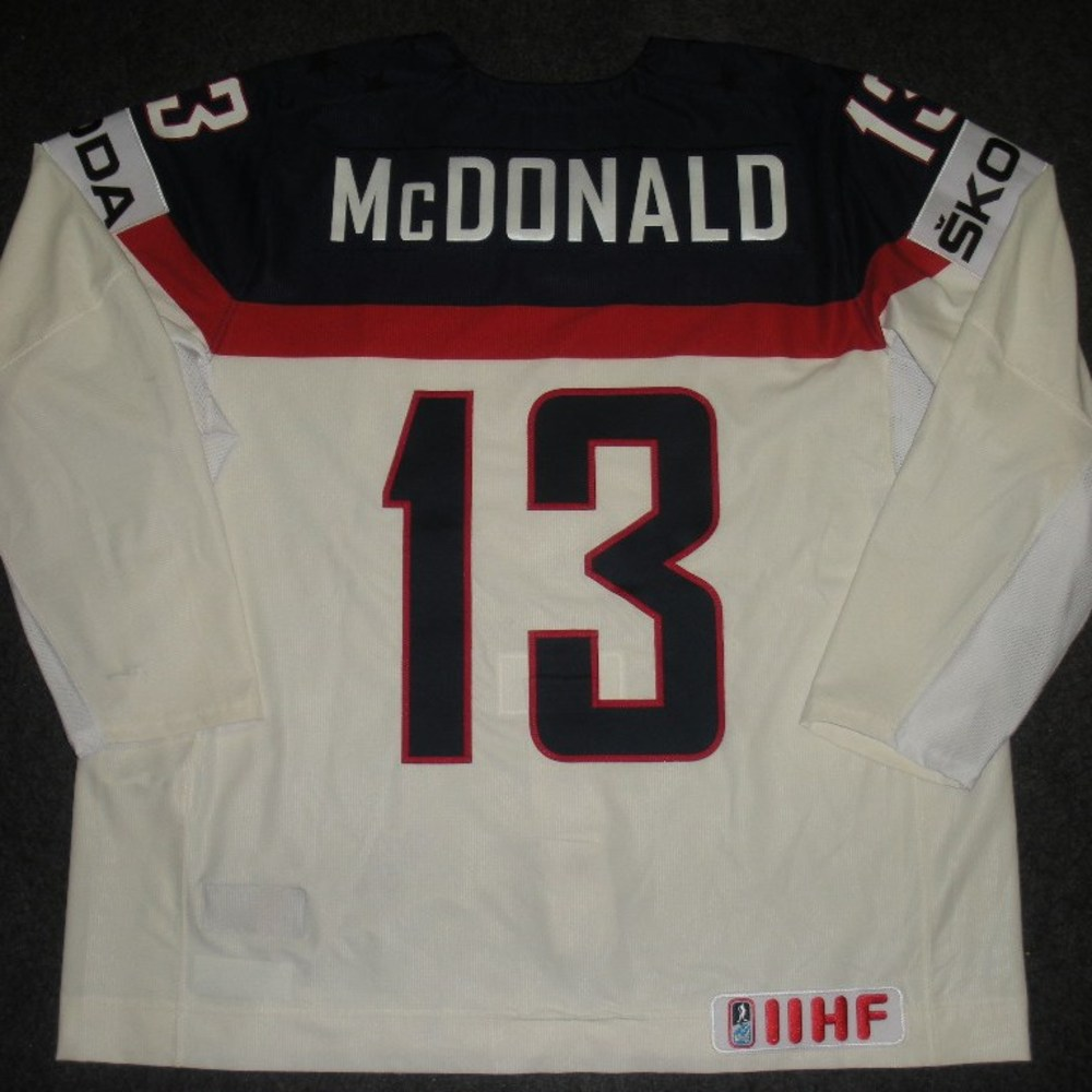 Colin McDonald - 2014 IIHF Mens World Championship - Team USA White Game-Worn Jersey - Worn on 5/9/14, 5/15/14 and 5/20/14