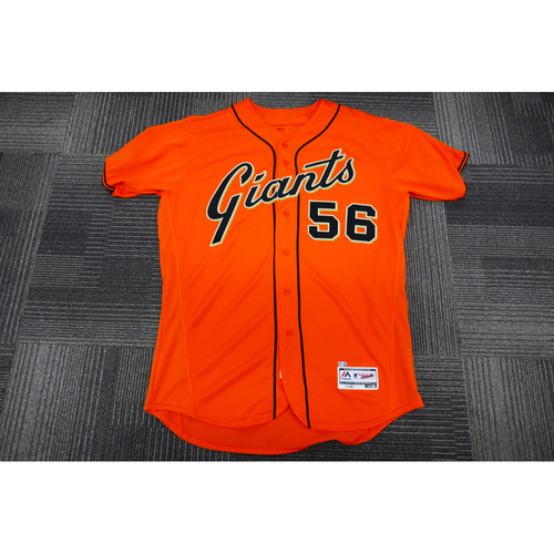 Photo of San Francisco Giants - 2017 Game-Used Orange Alt Jersey - worn by #56 Albert Suarez on 9/29/17 (Size: 48)