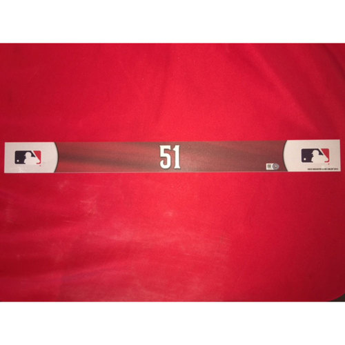 Photo of # 51 Away Locker Tag -- Used on 8/18/16 against Miami -- Ichiro collected career hits 3,006 and 3,007 during the game.