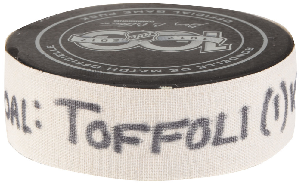 Tyler Toffoli Los Angeles Kings Game-Used Goal Puck from September 23, 2017 vs. Vancouver Canucks in Beijing, China