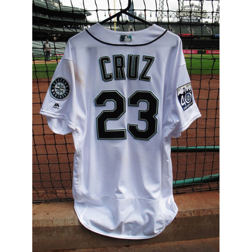 Photo of Nelson Cruz Game Used Home 40th Anniversary White Jersey May 15, 2017 Size 50