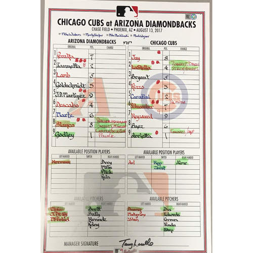 Photo of Game-Used Lineup Card - D-backs vs. Cubs - 8/13/17