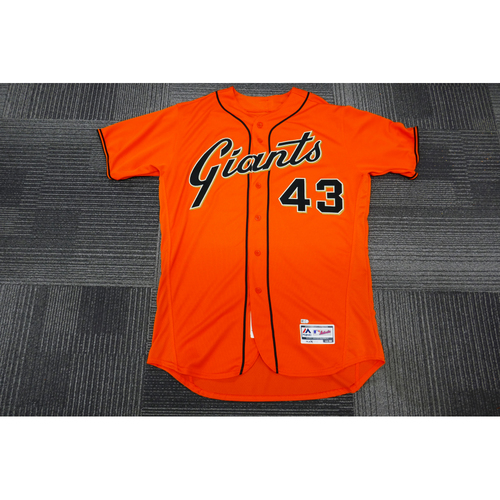 Photo of San Francisco Giants - 2017 Game-Used Orange Alt Jersey - worn by #43 Tim Federowicz on 9/29/17 - (Size: 48)