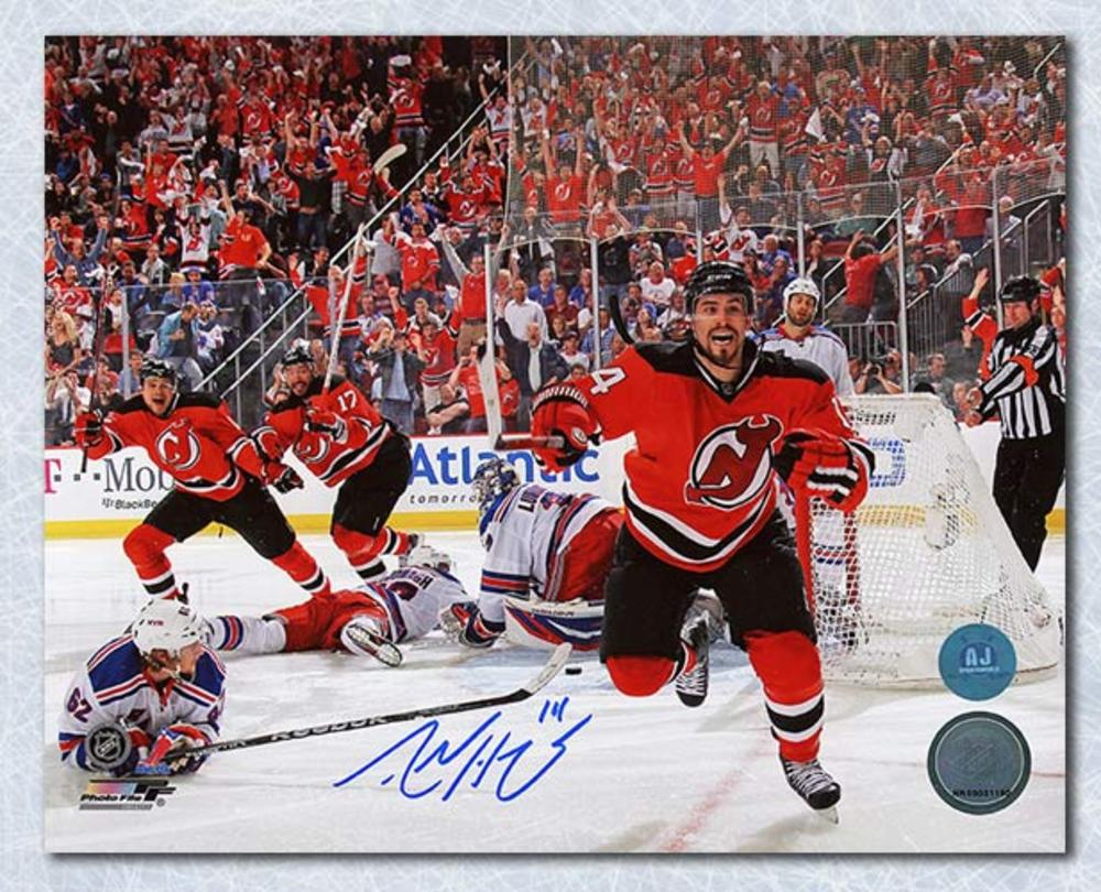 Adam Henrique New Jersey Devils Autographed Goal vs Rangers 8x10 Photo