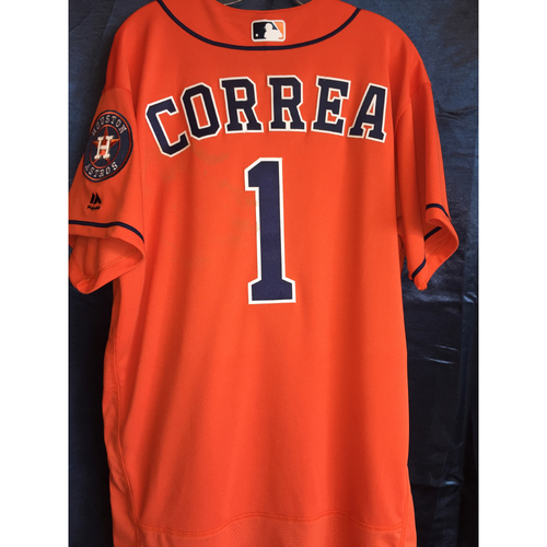 Photo of 2017 Carlos Correa Game-Used Orange Jersey