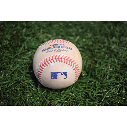 Photo of Game-Used Baseball - June 10, 2017 (Second Game of Doubleheader) - Chih-Wei Hu strikes out Khris Davis