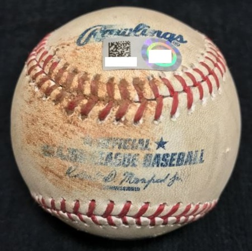 Photo of Game-Used Baseball from Pirates vs. Giants on 8/21/2015 - Bumgarner to Ramirez, Foul Ball