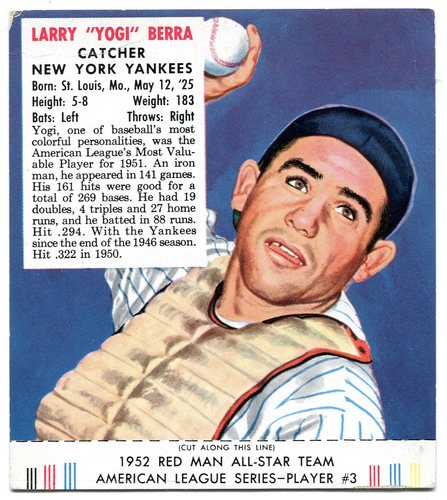 Photo of 1952 Red Man #AL3 Yogi Berra -- With tab