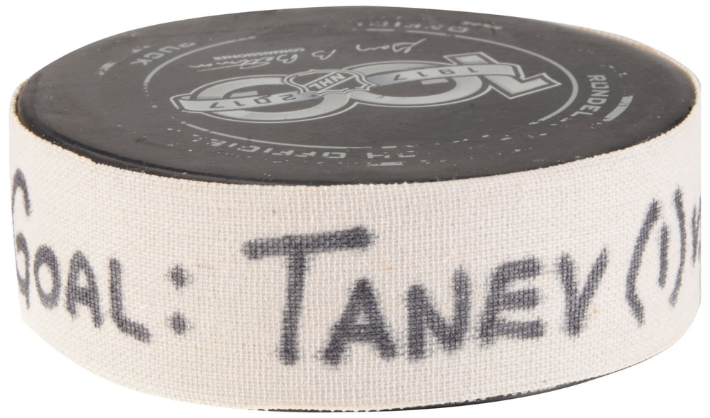 Christopher Tanev Vancouver Canucks Game-Used Goal Puck from September 23, 2017 vs. Los Angeles Kings in Beijing, China