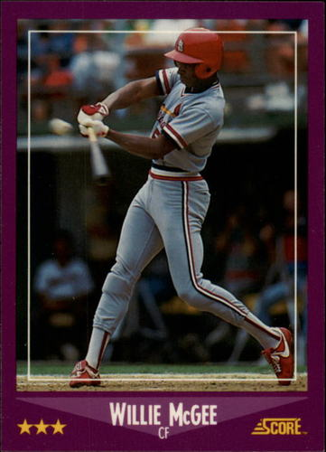 Photo of 1988 Score Glossy #40 Willie McGee UER/(Excited misspelled/as excitd)