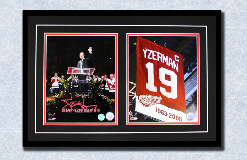 Steve Yzerman Autographed Detroit Red Wings Banner Night Dual 8x10 Frame