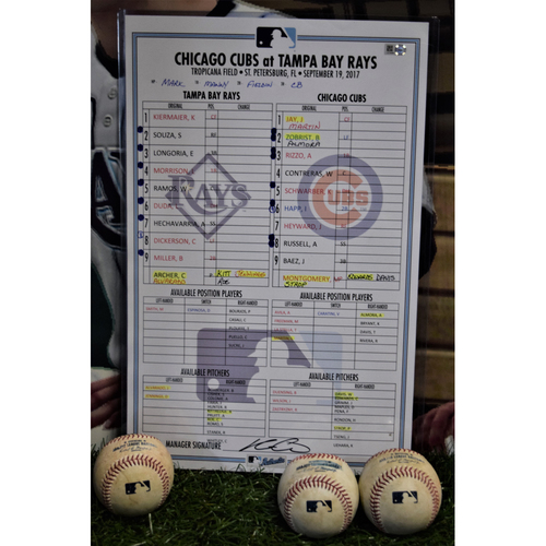Photo of Line Up Card - September 19, 2017 - Rays (1) v Cubs (2)