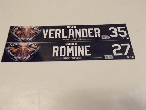 Photo of Game-Used Justin Verlander & Andrew Romine Locker Name Plates