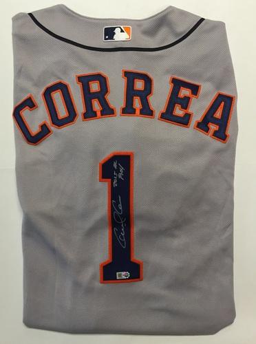 """Photo of Carlos Correa Autographed """"2015 AL ROY"""" Authentic Asros Jersey - Grey"""
