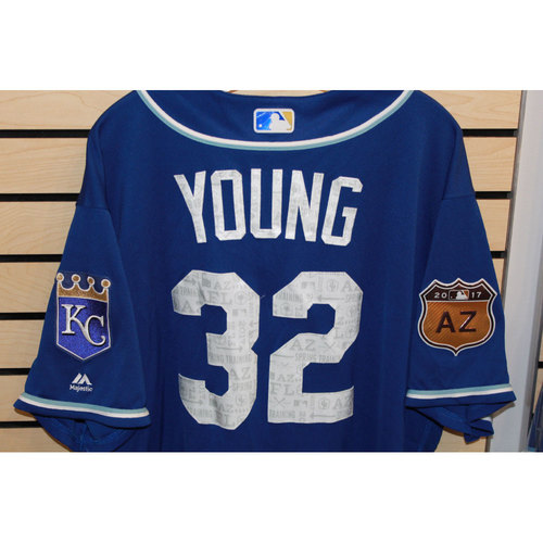 Photo of Game-Used Chris Young Spring Training Jersey (Size 54) (4/14/17 LAA @ KC)