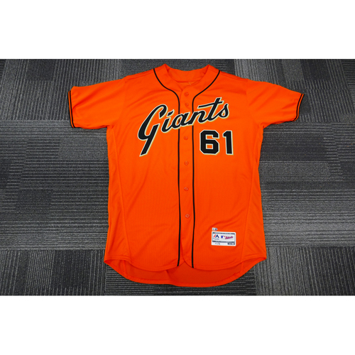 Photo of San Francisco Giants - 2017 Game-Used Orange Alt Jersey - worn by #61 Josh Osich on 9/29/17 - 1.0 IP, 1 K - (Size: 48)