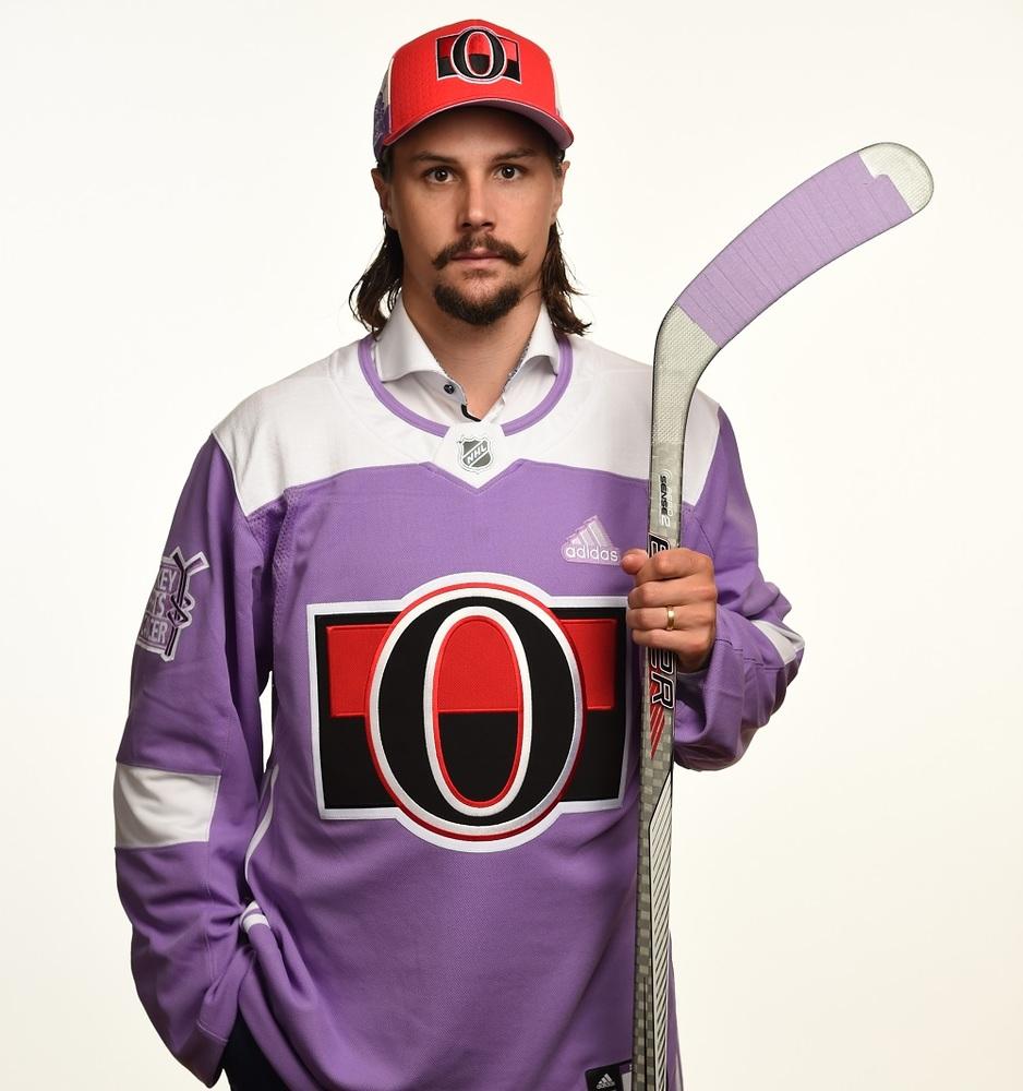 Erik Karlsson Autographed 2017 HFC Jersey from Player Media Tour - Ottawa Senators