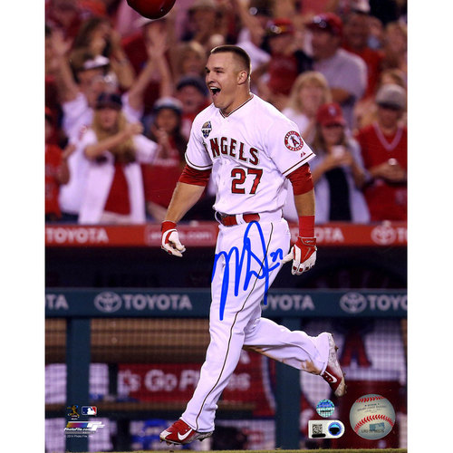 Photo of Mike Trout Autographed Celebrating 8x10 Photo