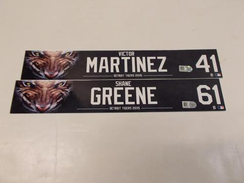 Photo of Game-Used Victor Martinez & Shane Greene Locker Name Plates