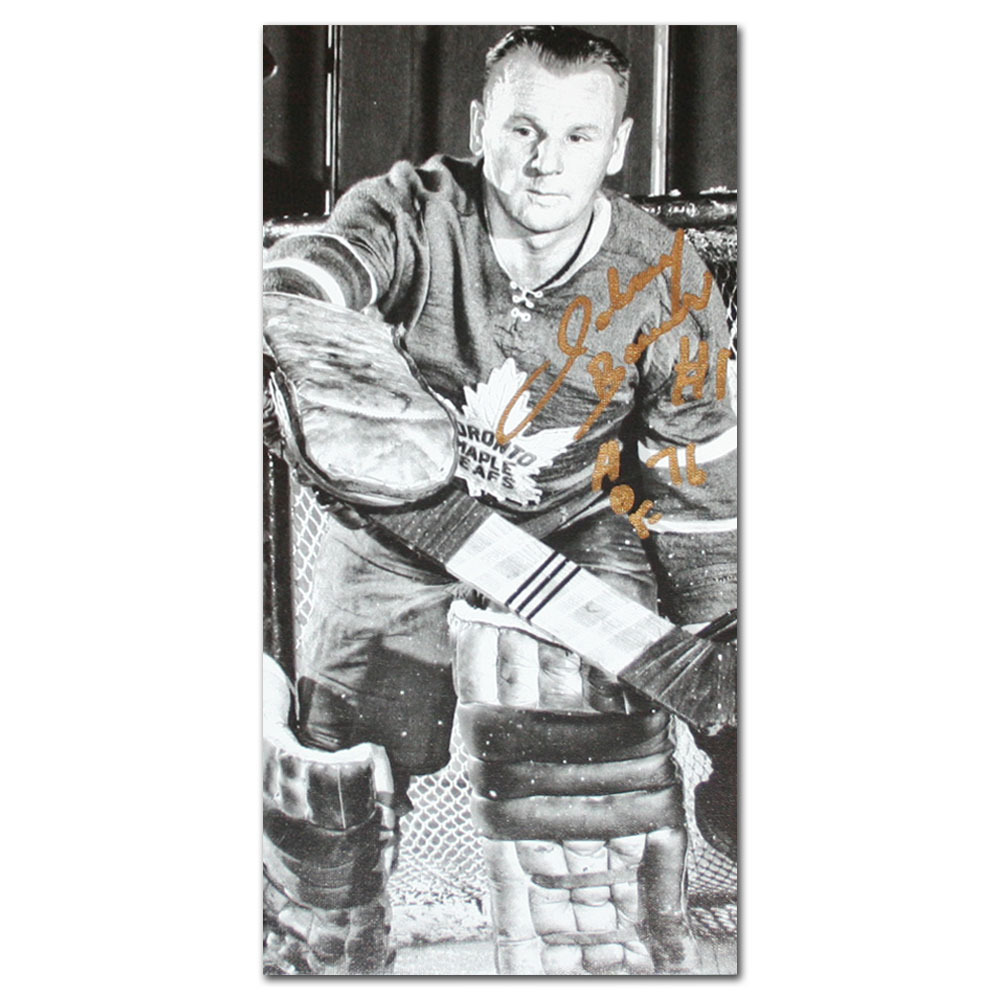 Johnny Bower Autographed 8X16 Toronto Maple Leafs Art Canvas
