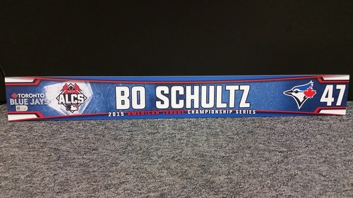 Photo of Authenticated Team Issued 2015 Post Season ALCS Locker Tag - #47 Bo Schultz