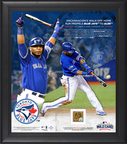 """Photo of BLUE JAYS AUTHENTICS- 15 x 17"""" Encarnacion 'Walk Off' homerun photo with game used dirt from AL Wildcard Game - October 4, 2016"""