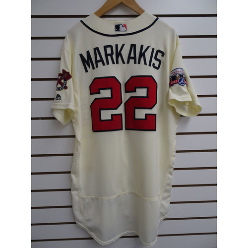 Photo of Nick Markakis Game-Used Jersey Worn during the Final Game at Turner Field