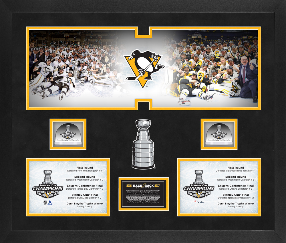 Pittsburgh Penguins Back-To-Back Stanley Cup Champions Framed 20
