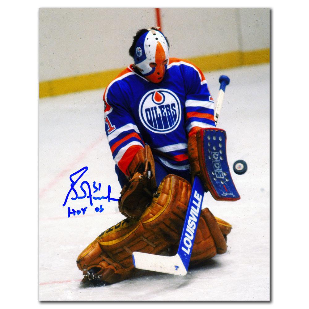 Grant Fuhr Edmonton Oilers HOF BLOCKER SAVE Autographed 8x10