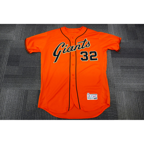 Photo of San Francisco Giants - 2017 Game-Used Orange Alt Jersey - worn by #32 Steven Okert on 9/29/17 - (Size: 50)