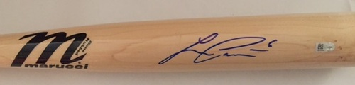 Photo of Lorenzo Cain Autographed Blonde Marucci Bat