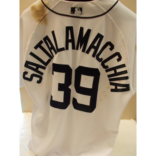 Photo of Game-Used Jarrod Saltalamacchia Home Jersey: Worn in 7 Games