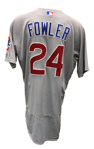 Photo of Dexter Fowler Game-Used Jersey -- Fowler 2 for 3 -- Cubs at Reds -- 10/1/16 -- Cubs World Championship 2016 Season