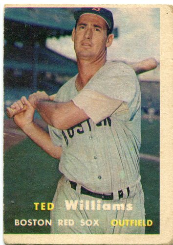 Photo of 1957 Topps #1 Ted Williams -- Red Sox Hall of Famer