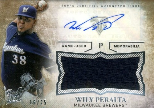 Photo of 2015 Topps Triple Threads Unity Relic Autographs Gold #UAJRWP Wily Peralta