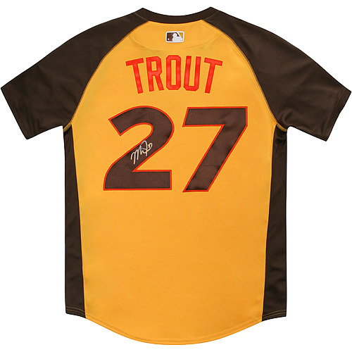 Photo of Mike Trout 2016 Major League Baseball Workout Day/Home Run Derby Autographed Jersey