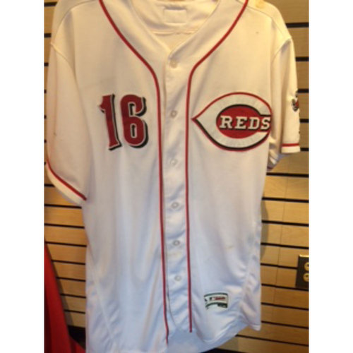 Photo of Tucker Barnhart -- Home White Jersey -- Worn on August 2nd against the Cardinals